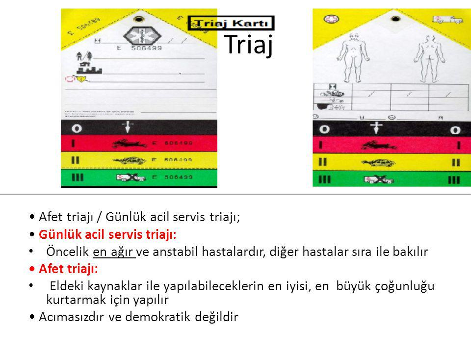Triaj • Afet triajı / Günlük acil servis triajı;
