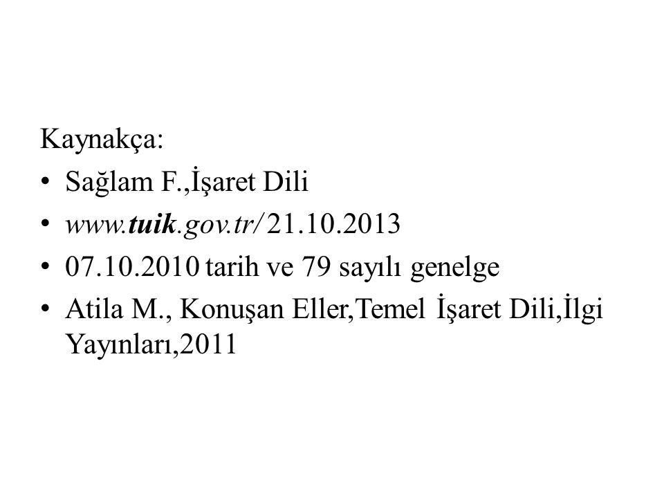 Kaynakça: Sağlam F.,İşaret Dili. www.tuik.gov.tr/ 21.10.2013. 07.10.2010 tarih ve 79 sayılı genelge.