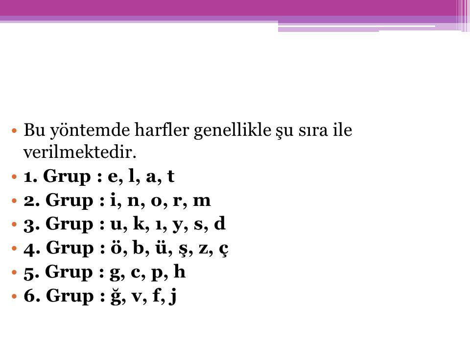 Bu yöntemde harfler genellikle şu sıra ile verilmektedir.