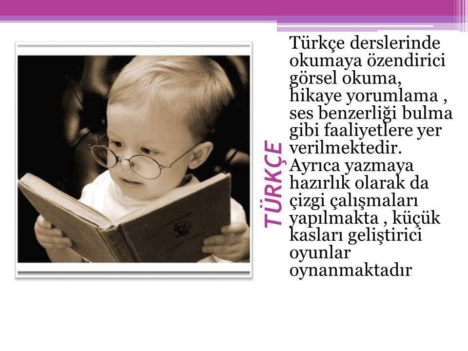 Türkçe derslerinde okumaya özendirici görsel okuma, hikaye yorumlama , ses benzerliği bulma gibi faaliyetlere yer verilmektedir. Ayrıca yazmaya hazırlık olarak da çizgi çalışmaları yapılmakta , küçük kasları geliştirici oyunlar oynanmaktadır.