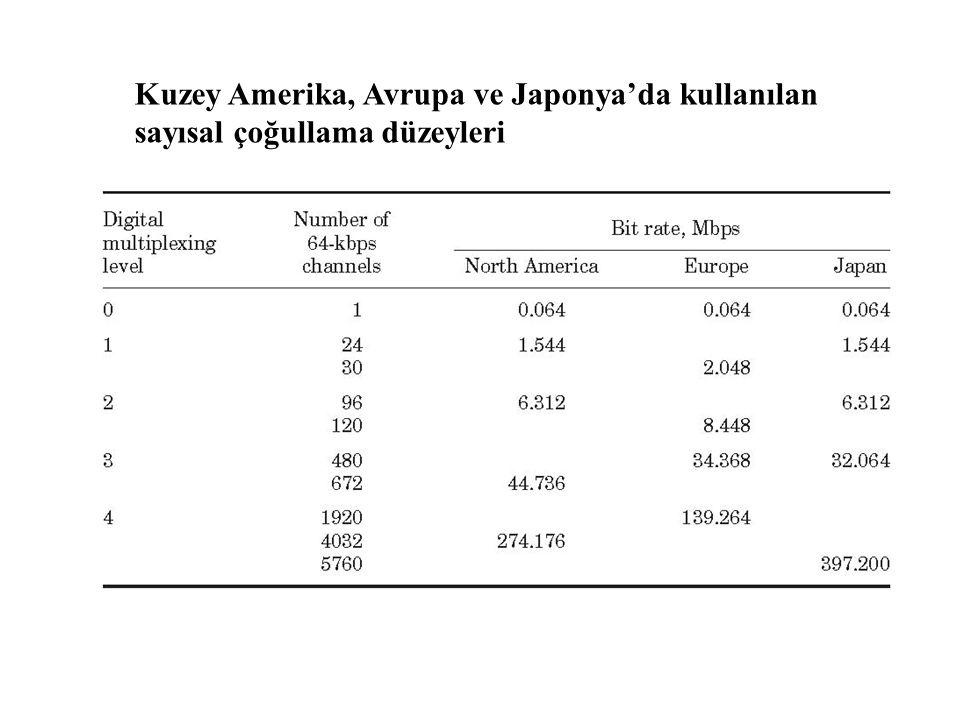 Kuzey Amerika, Avrupa ve Japonya'da kullanılan sayısal çoğullama düzeyleri