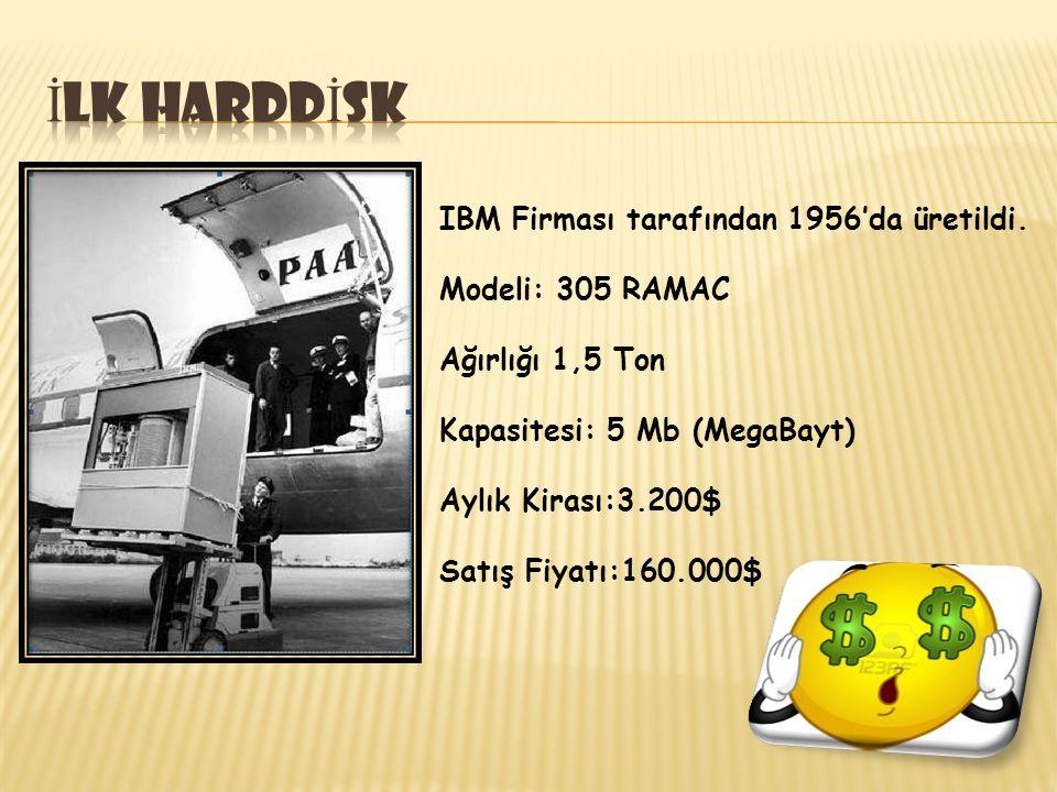 İlk harddİsk IBM Firması tarafından 1956'da üretildi.