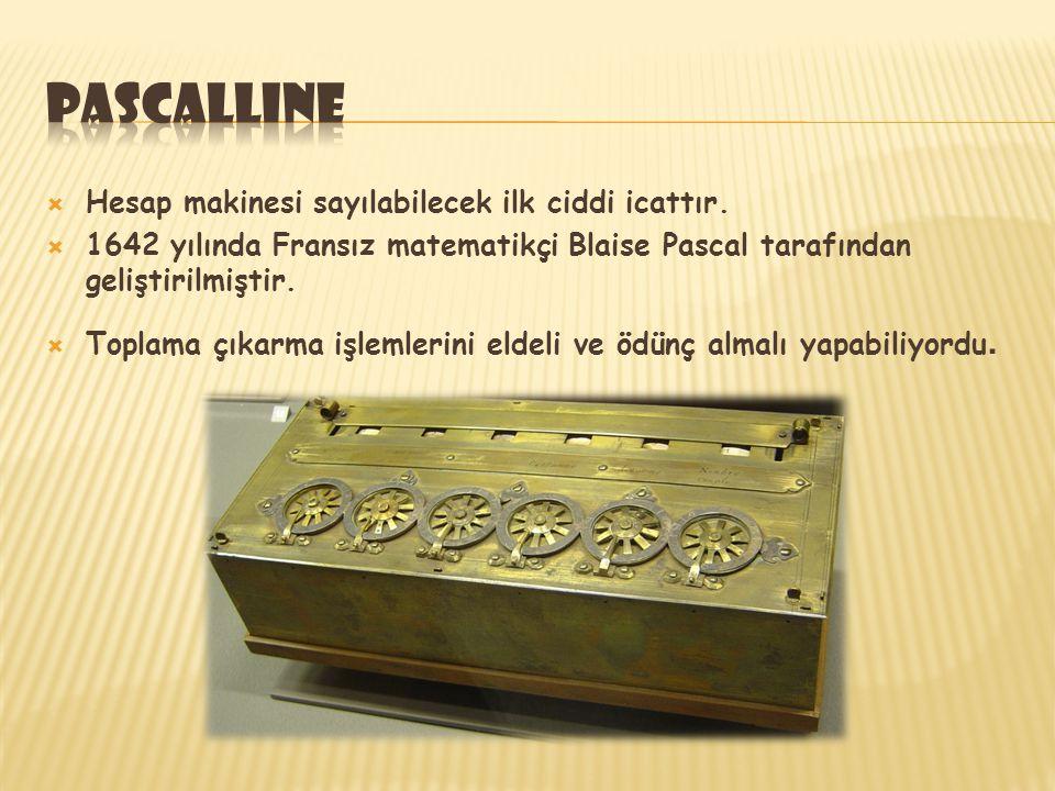 pascalline Hesap makinesi sayılabilecek ilk ciddi icattır.