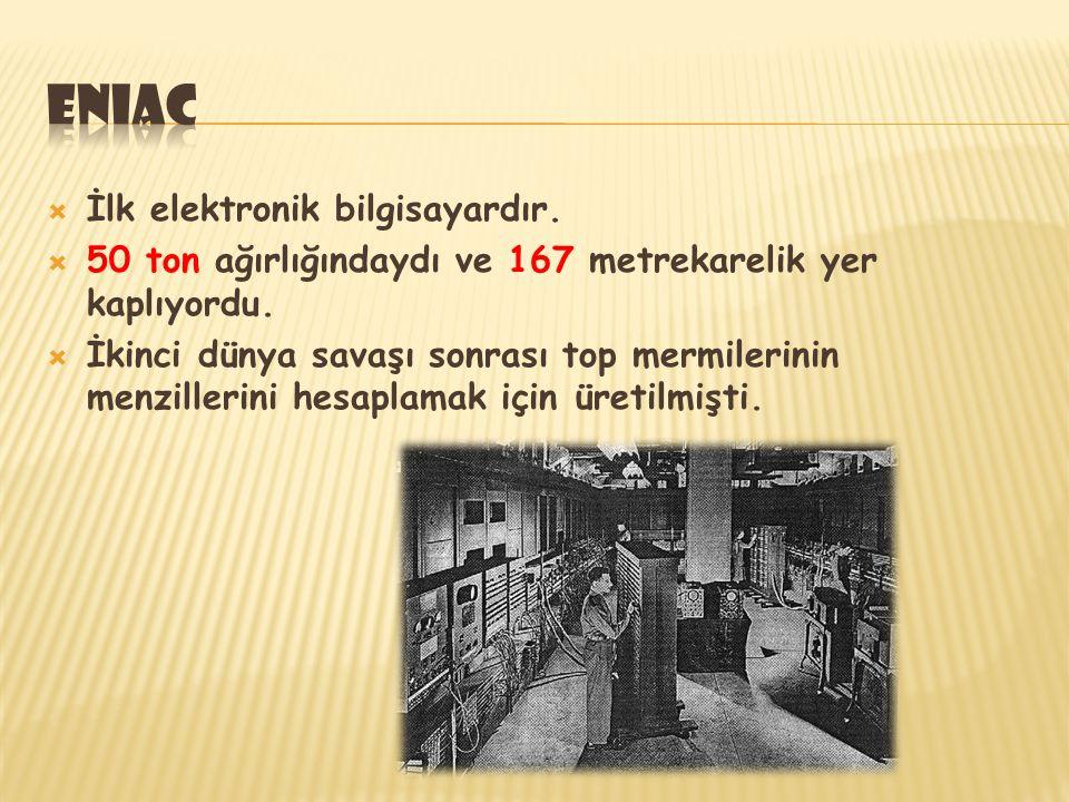 eniac İlk elektronik bilgisayardır.