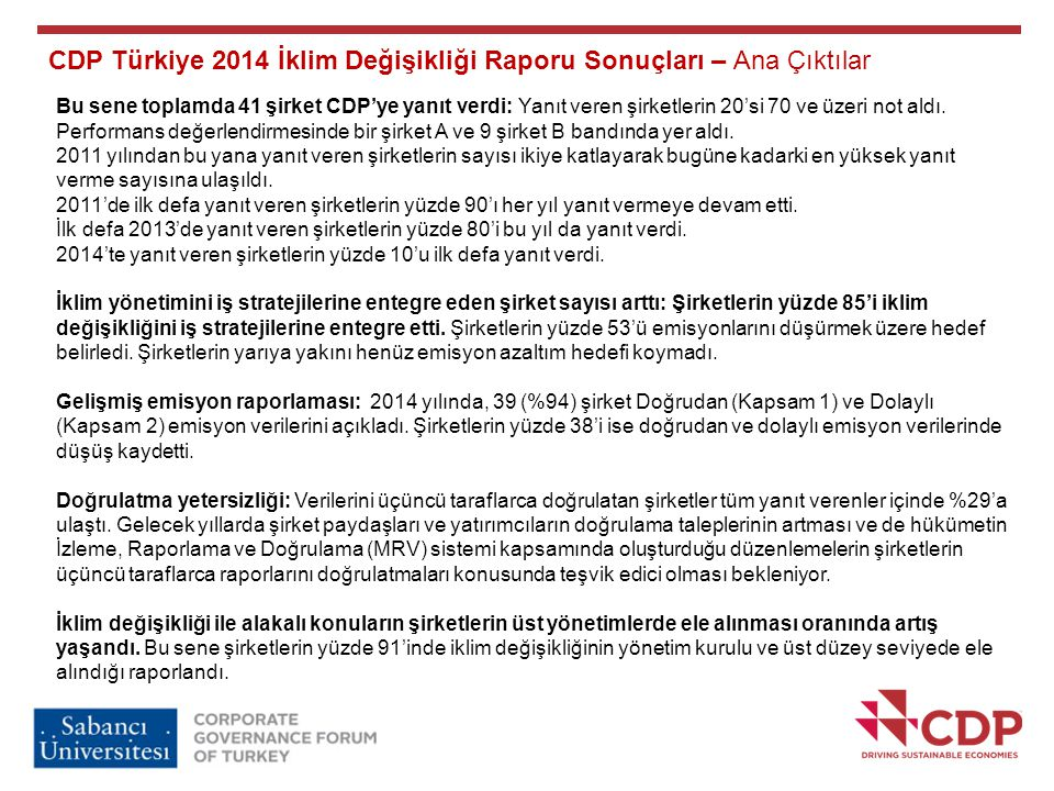 CDP Türkiye 2014 İklim Değişikliği Raporu Sonuçları – Ana Çıktılar