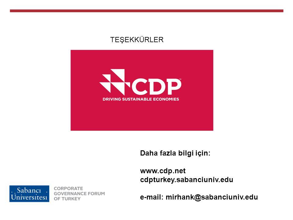 TEŞEKKÜRLER Daha fazla bilgi için: www.cdp.net. cdpturkey.sabanciuniv.edu.
