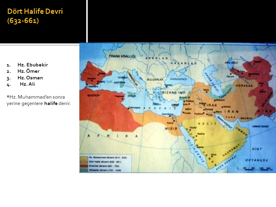 Dört Halife Devri (632-661) 1. Hz. Ebubekir 2. Hz. Ömer 3. Hz. Osman