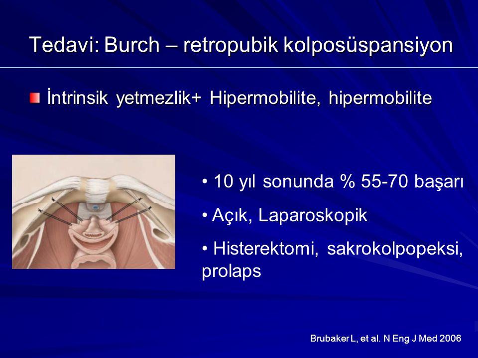 Tedavi: Burch – retropubik kolposüspansiyon