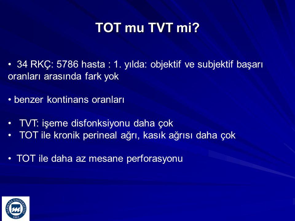 TOT mu TVT mi 34 RKÇ: 5786 hasta : 1. yılda: objektif ve subjektif başarı oranları arasında fark yok.
