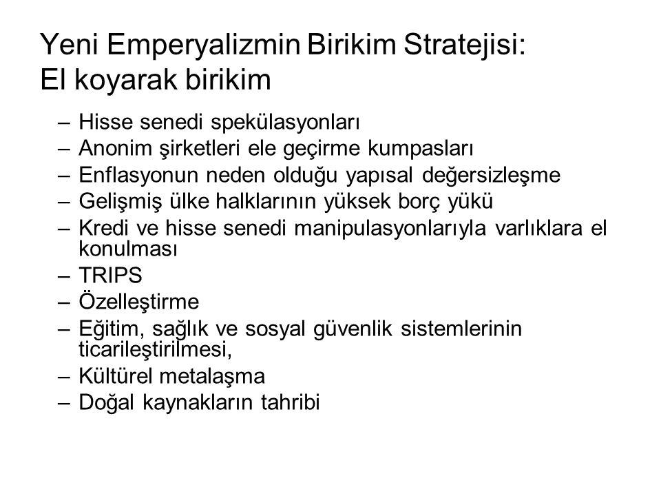 Yeni Emperyalizmin Birikim Stratejisi: El koyarak birikim