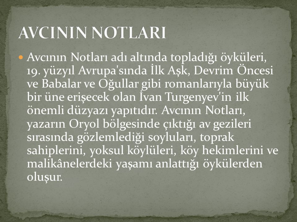 AVCININ NOTLARI