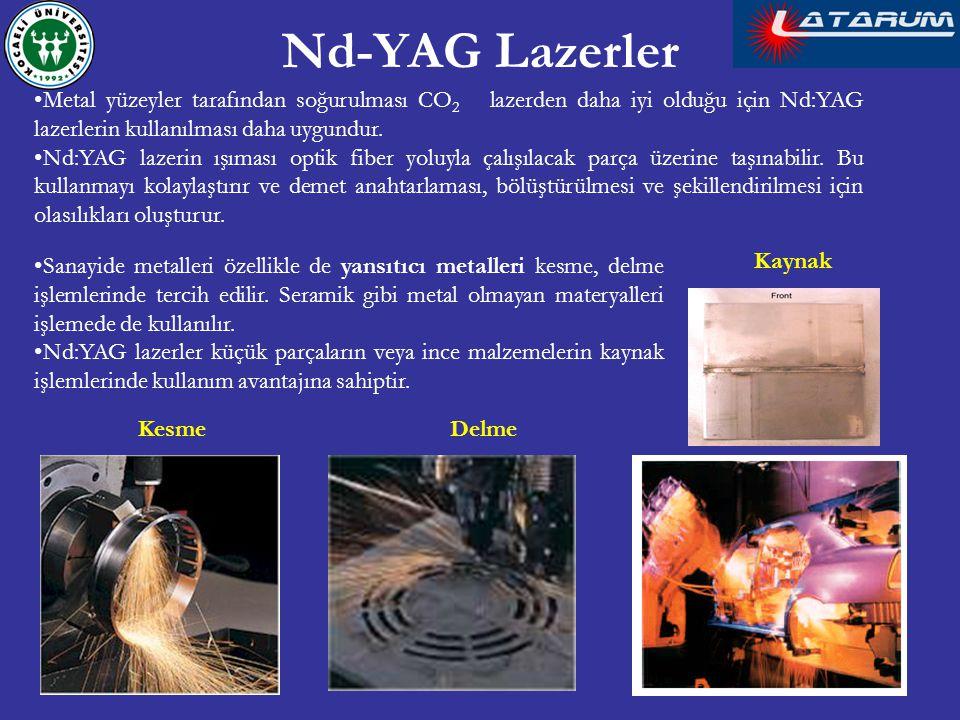 Nd-YAG Lazerler Metal yüzeyler tarafından soğurulması CO2 lazerden daha iyi olduğu için Nd:YAG lazerlerin kullanılması daha uygundur.