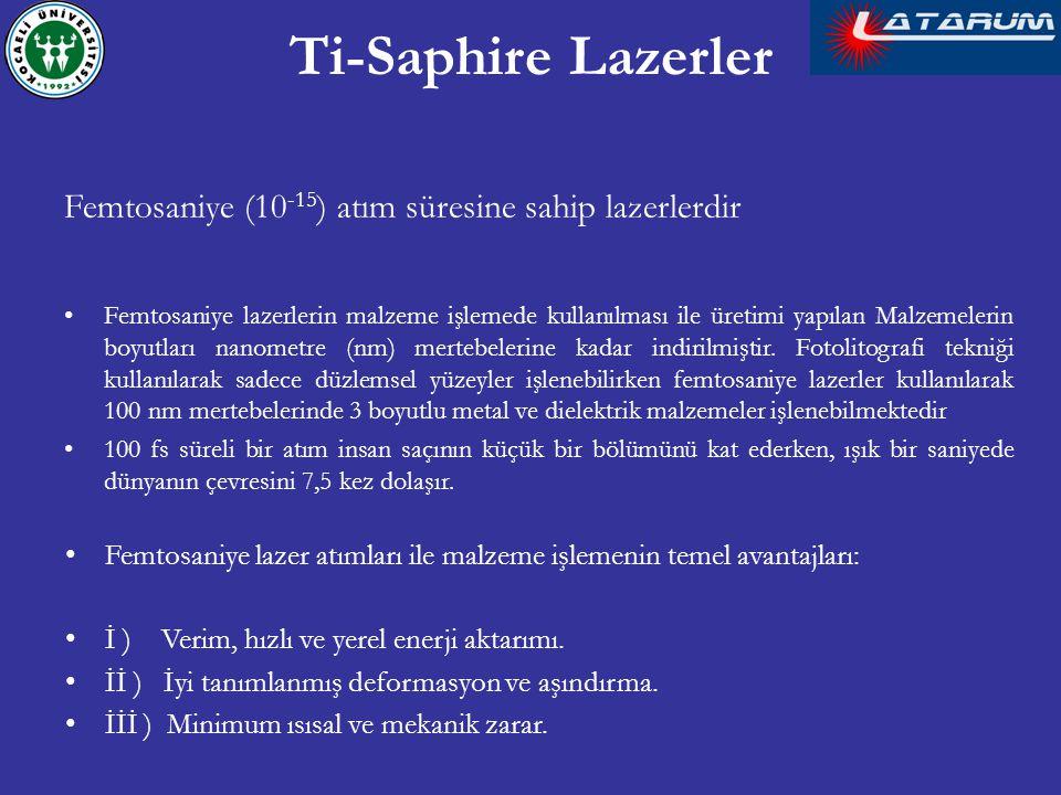 Ti-Saphire Lazerler Femtosaniye (10-15) atım süresine sahip lazerlerdir.