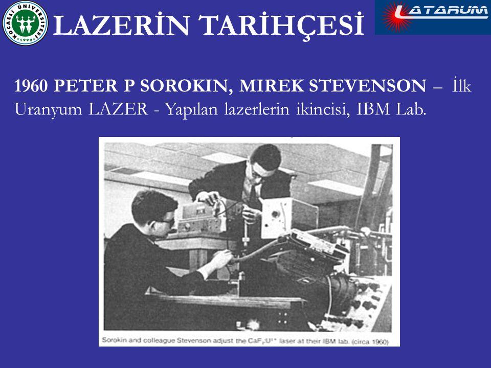 LAZERİN TARİHÇESİ 1960 PETER P SOROKIN, MIREK STEVENSON – İlk Uranyum LAZER - Yapılan lazerlerin ikincisi, IBM Lab.
