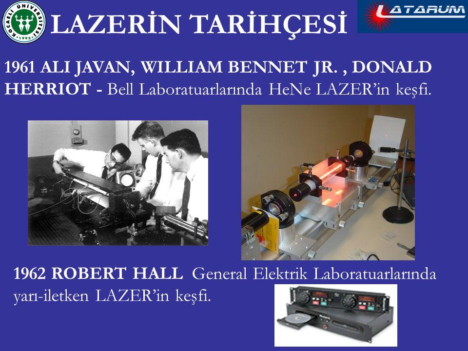 LAZERİN TARİHÇESİ 1961 ALI JAVAN, WILLIAM BENNET JR. , DONALD HERRIOT - Bell Laboratuarlarında HeNe LAZER'in keşfi.