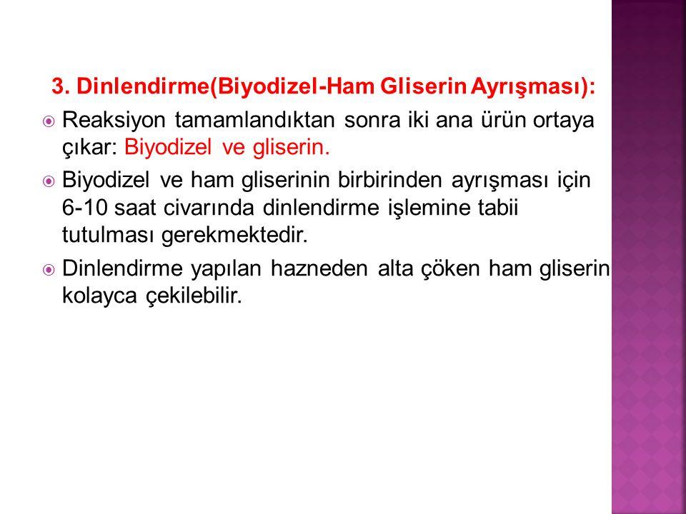 3. Dinlendirme(Biyodizel-Ham Gliserin Ayrışması):