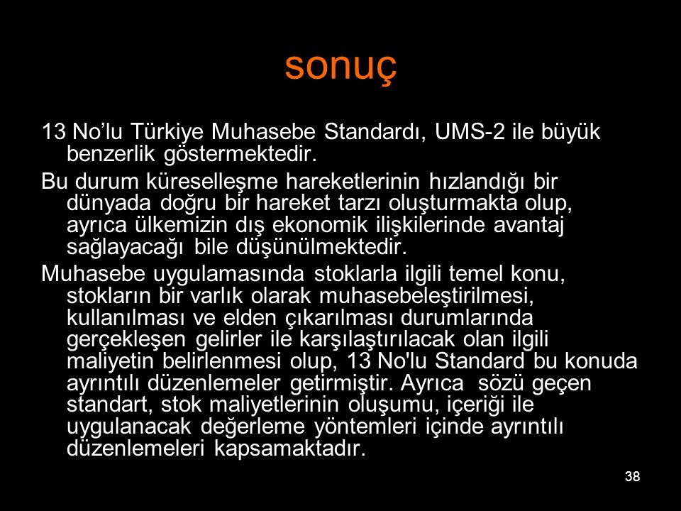 sonuç 13 No'lu Türkiye Muhasebe Standardı, UMS-2 ile büyük benzerlik göstermektedir.