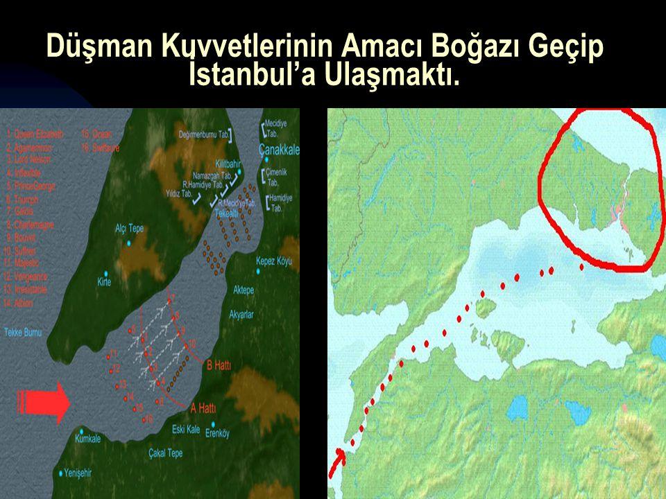 Düşman Kuvvetlerinin Amacı Boğazı Geçip İstanbul'a Ulaşmaktı.