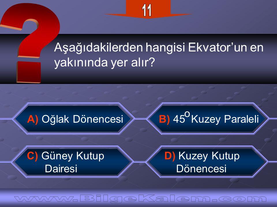 11 Aşağıdakilerden hangisi Ekvator'un en. yakınında yer alır