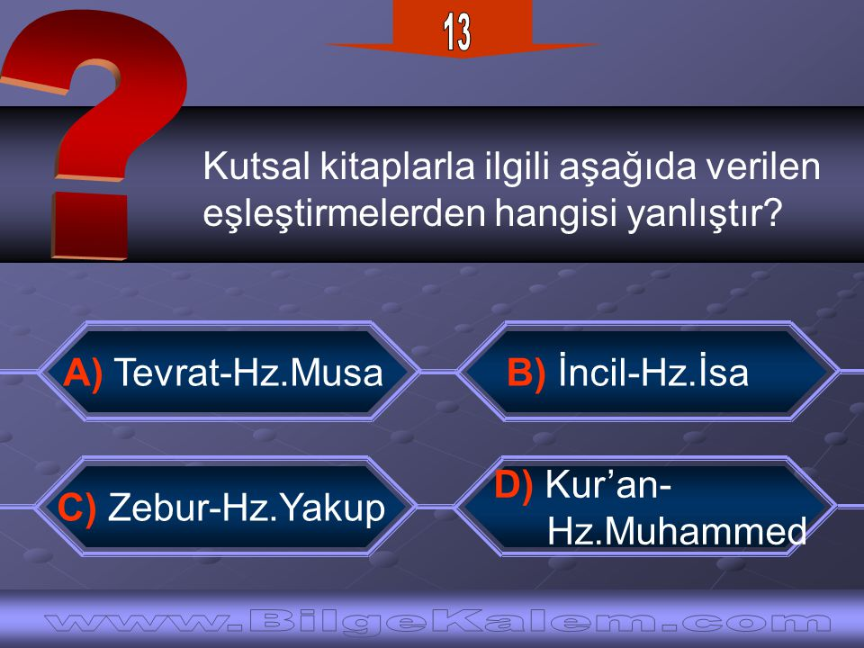 13 Kutsal kitaplarla ilgili aşağıda verilen. eşleştirmelerden hangisi yanlıştır