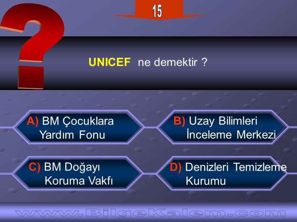15 UNICEF ne demektir A) BM Çocuklara. Yardım Fonu.