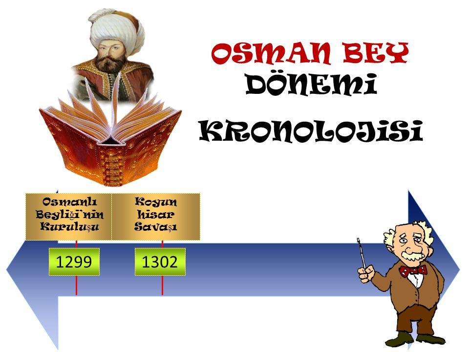 OSMAN BEY DÖNEMi KRONOLOJiSi Osmanlı Beyliği 1299 1302 1299 Yılında