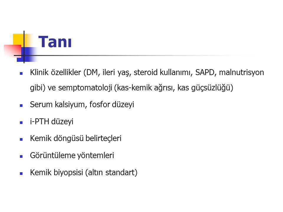 Tanı Klinik özellikler (DM, ileri yaş, steroid kullanımı, SAPD, malnutrisyon gibi) ve semptomatoloji (kas-kemik ağrısı, kas güçsüzlüğü)