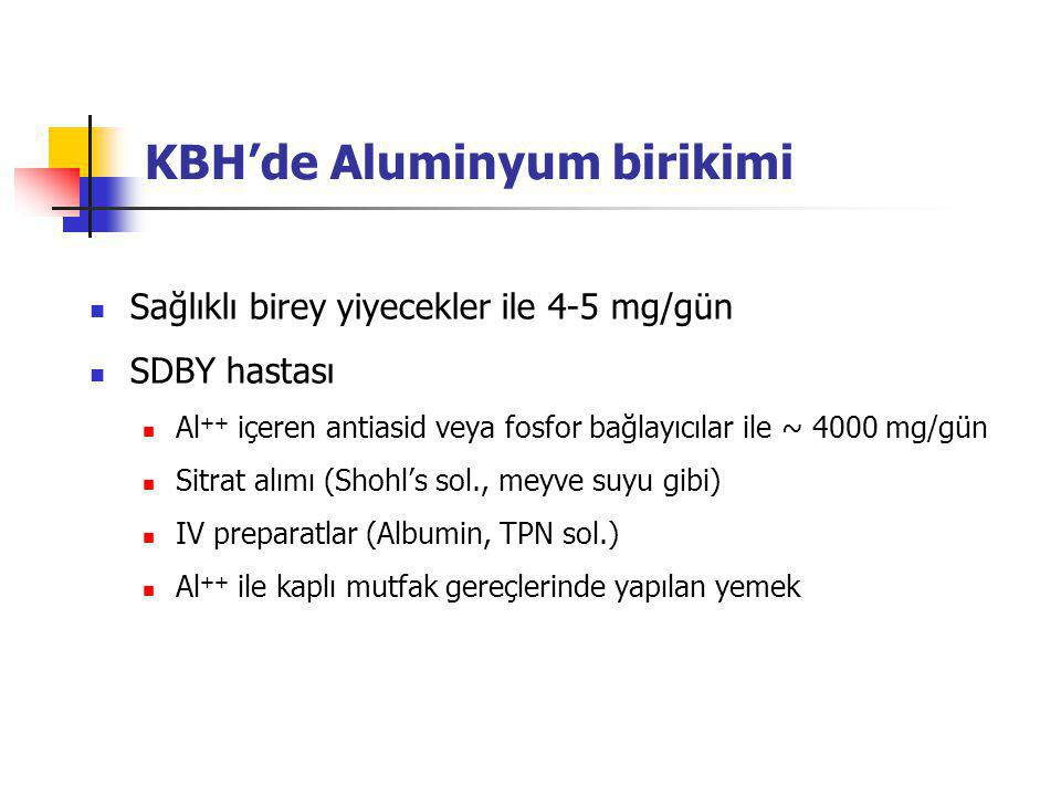 KBH'de Aluminyum birikimi