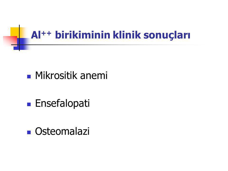 Al++ birikiminin klinik sonuçları
