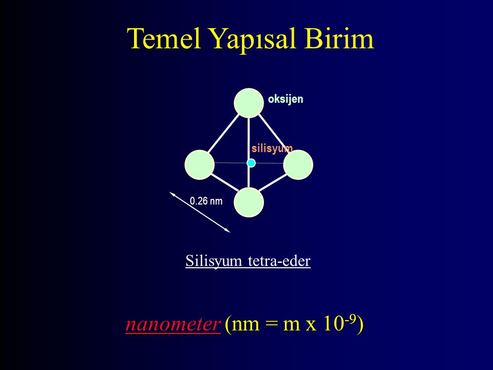 Temel Yapısal Birim nanometer (nm = m x 10-9) Silisyum tetra-eder