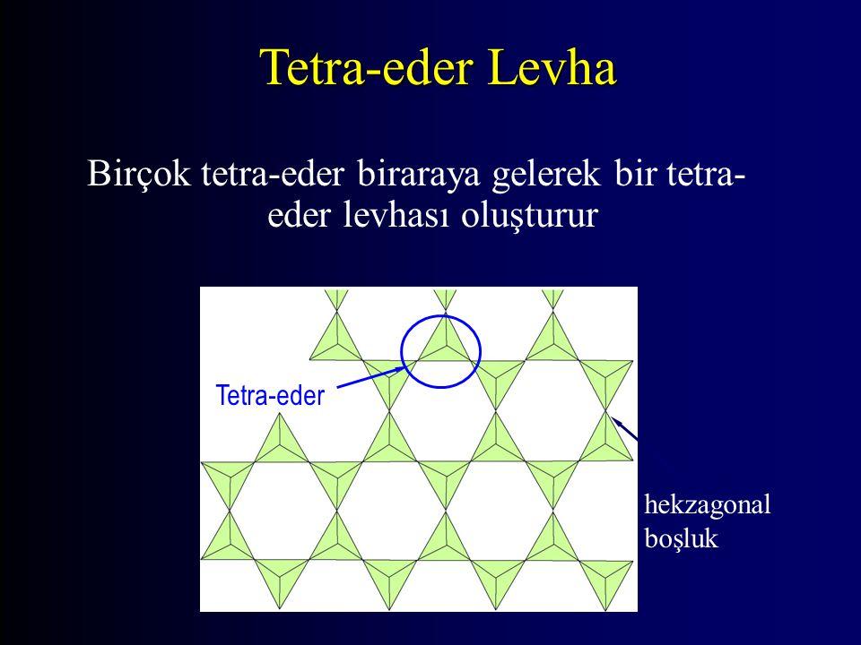 Birçok tetra-eder biraraya gelerek bir tetra-eder levhası oluşturur