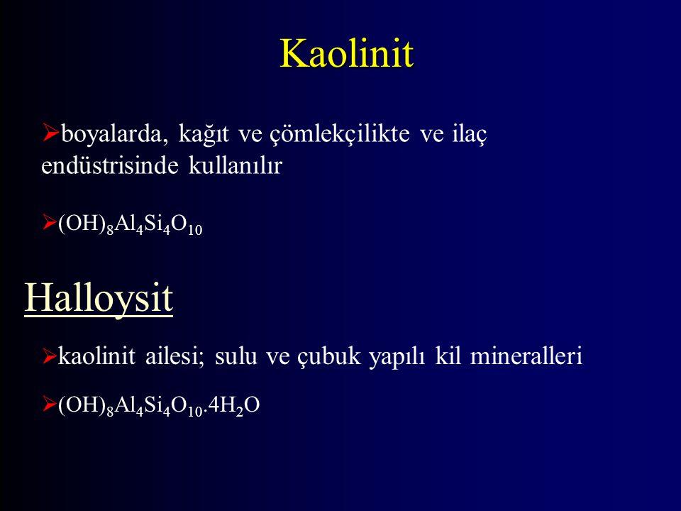 Kaolinit boyalarda, kağıt ve çömlekçilikte ve ilaç endüstrisinde kullanılır. (OH)8Al4Si4O10. Halloysit.