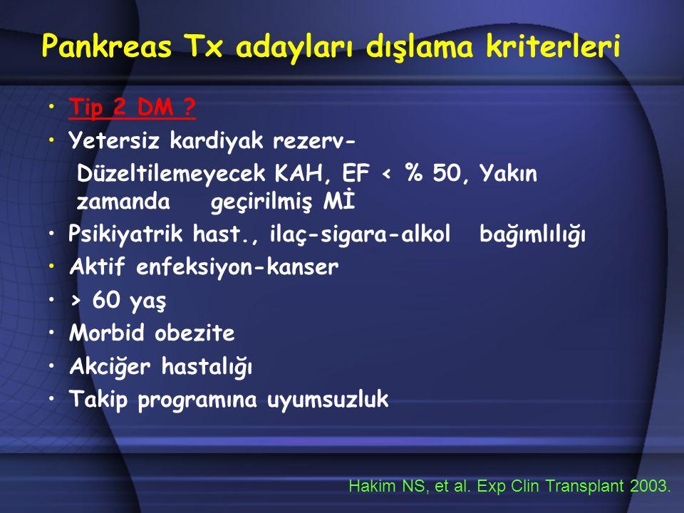 Pankreas Tx adayları dışlama kriterleri