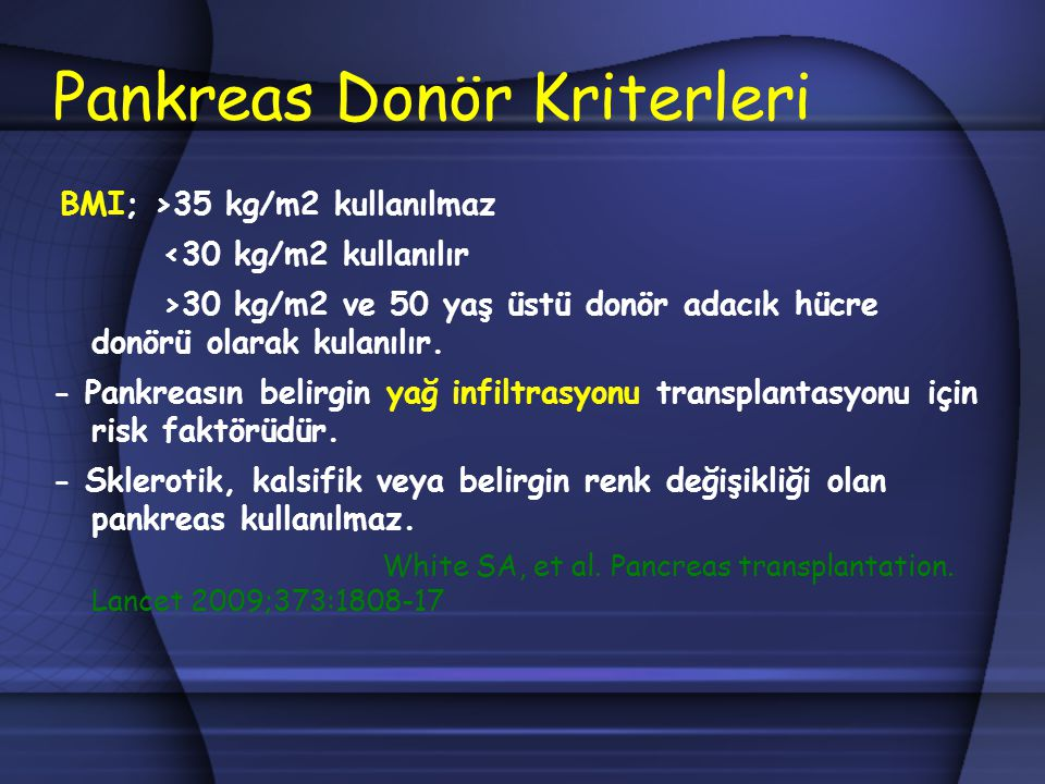Pankreas Donör Kriterleri