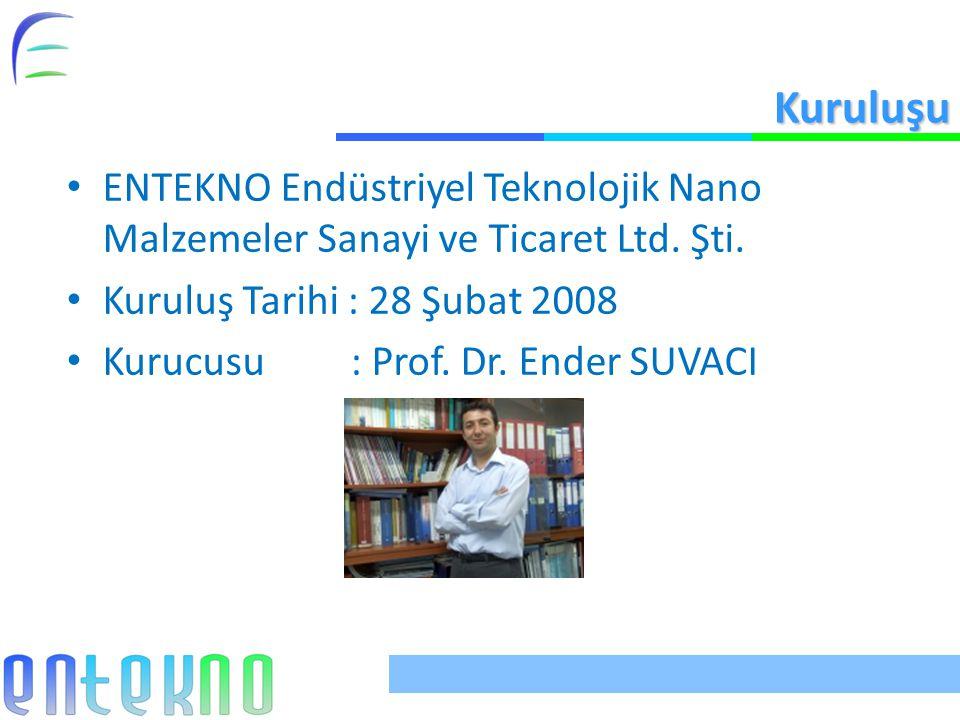Kuruluşu ENTEKNO Endüstriyel Teknolojik Nano Malzemeler Sanayi ve Ticaret Ltd. Şti. Kuruluş Tarihi : 28 Şubat 2008.