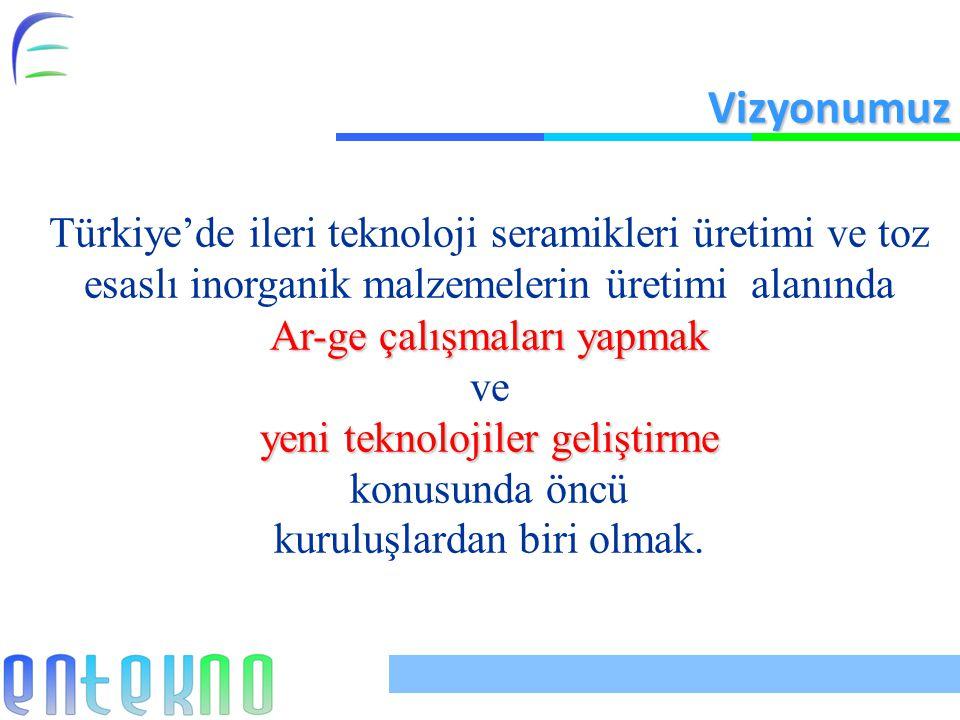Vizyonumuz Türkiye'de ileri teknoloji seramikleri üretimi ve toz esaslı inorganik malzemelerin üretimi alanında.