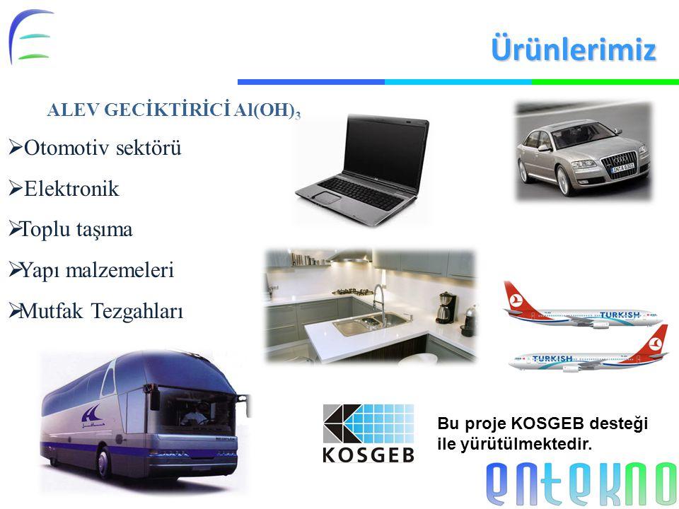 Ürünlerimiz Otomotiv sektörü Elektronik Toplu taşıma Yapı malzemeleri