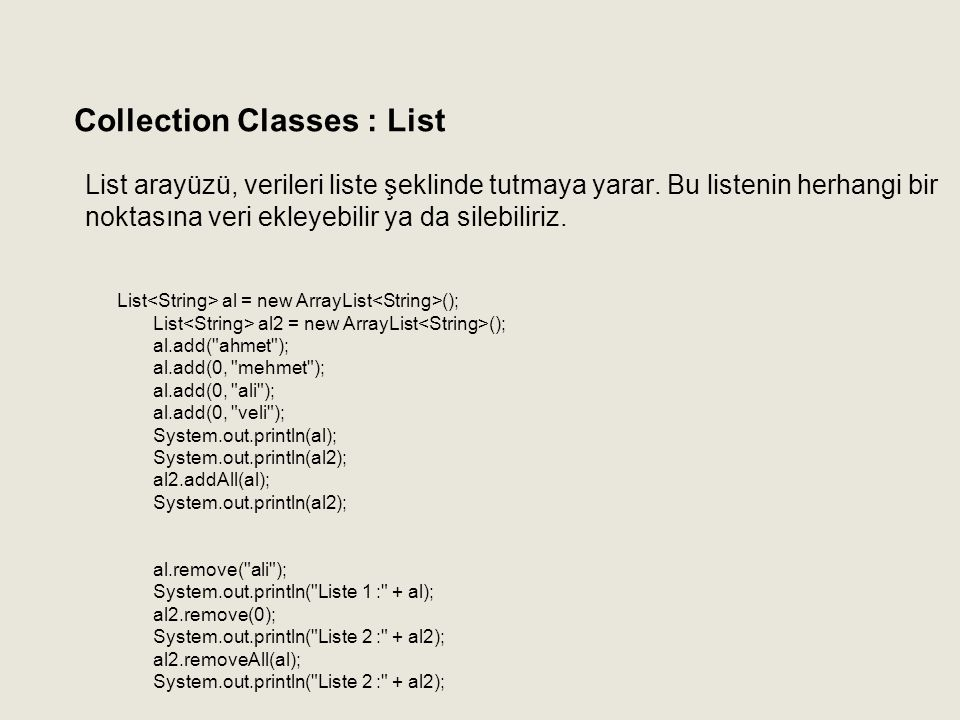 Collection Classes : List