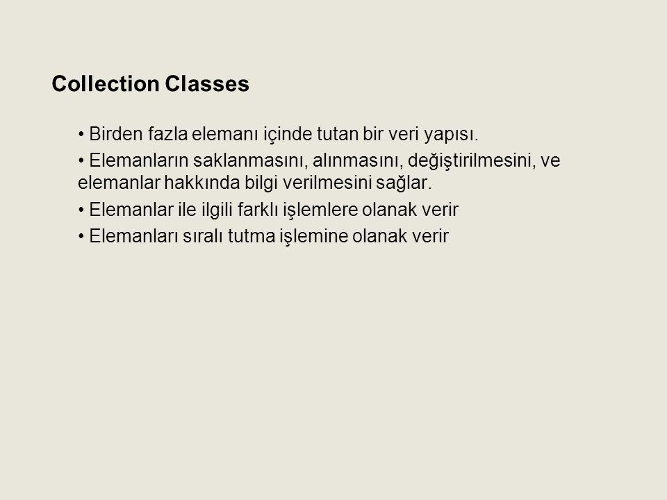 Collection Classes Birden fazla elemanı içinde tutan bir veri yapısı.