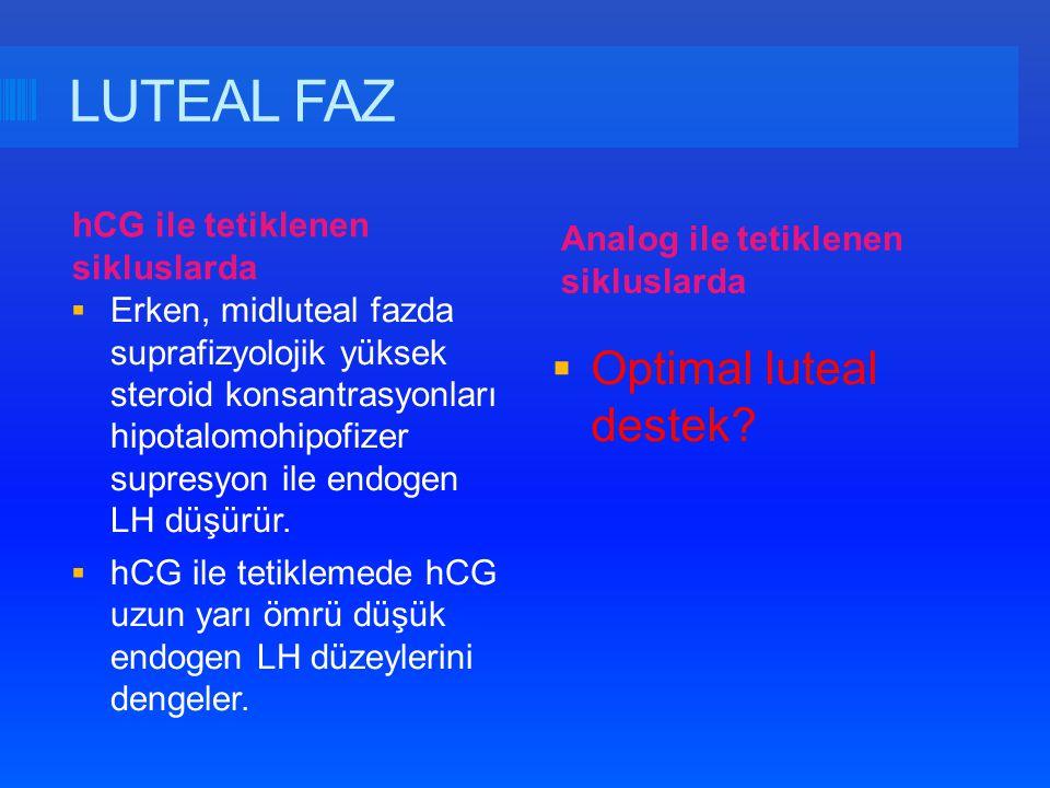 LUTEAL FAZ Optimal luteal destek hCG ile tetiklenen sikluslarda