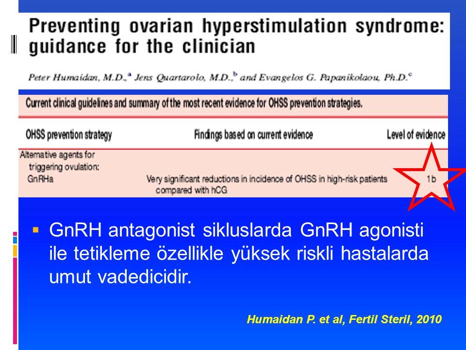 GnRH antagonist sikluslarda GnRH agonisti ile tetikleme özellikle yüksek riskli hastalarda umut vadedicidir.