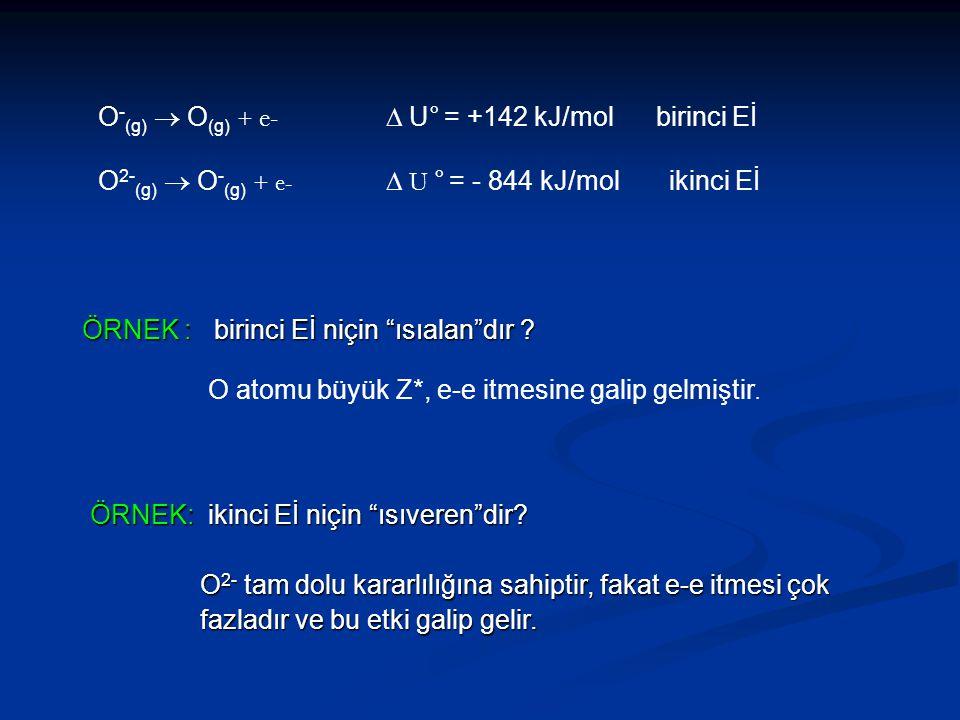 O-(g)  O(g) + e- D U° = +142 kJ/mol birinci Eİ