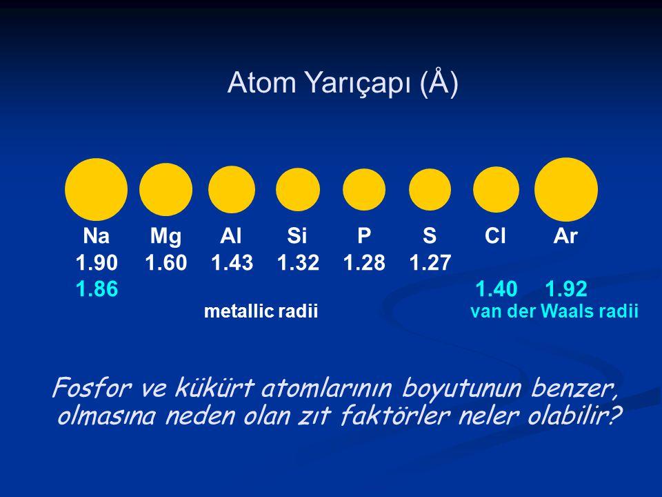 Atom Yarıçapı (Å) Fosfor ve kükürt atomlarının boyutunun benzer,