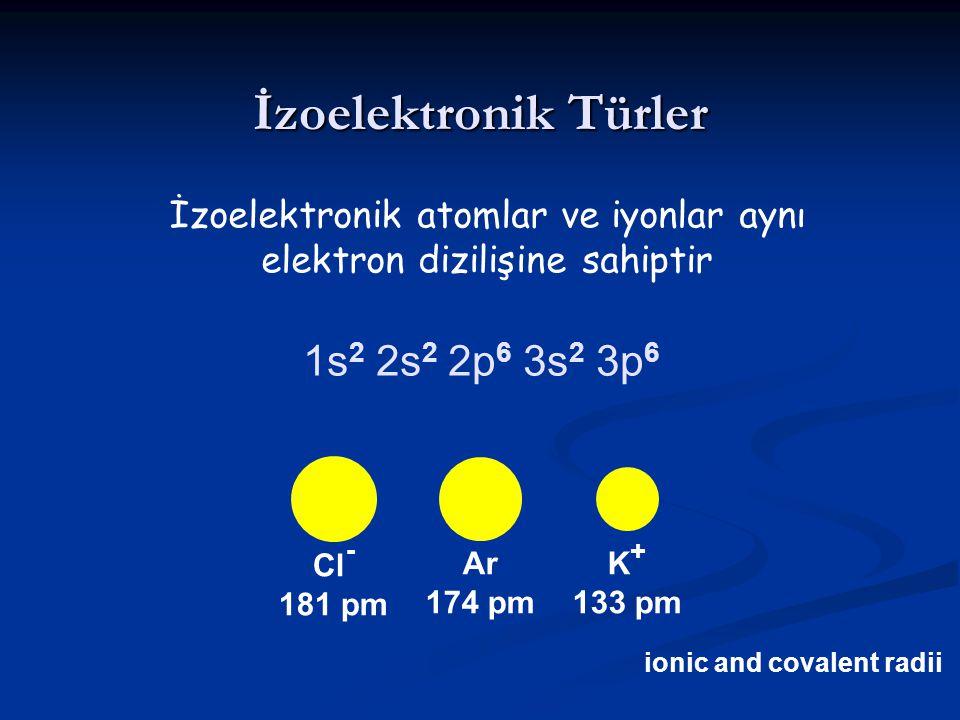 İzoelektronik Türler 1s2 2s2 2p6 3s2 3p6