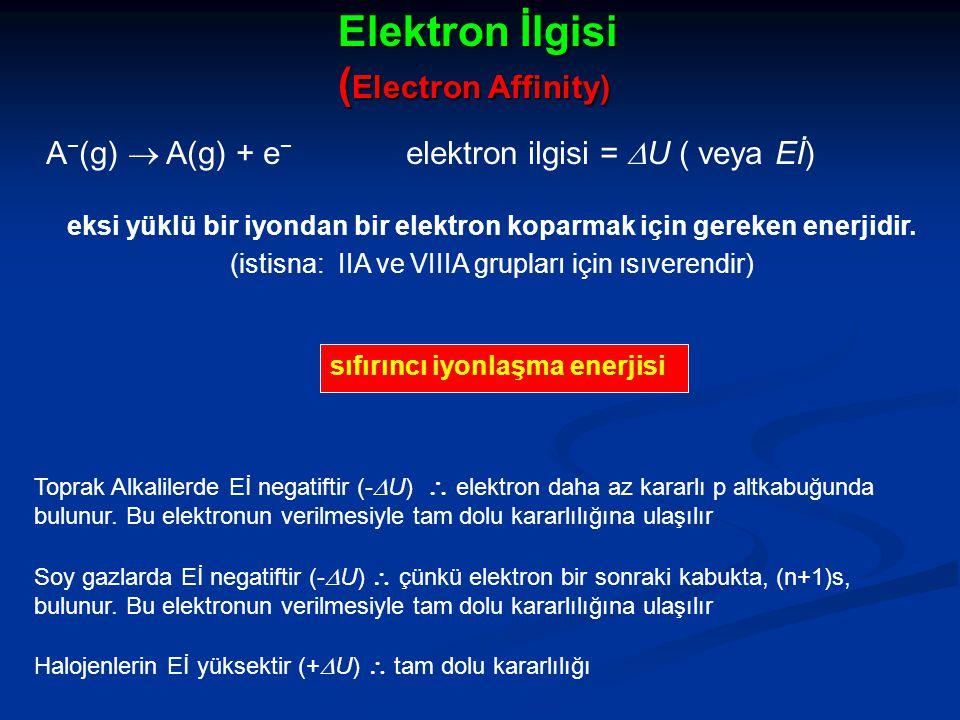eksi yüklü bir iyondan bir elektron koparmak için gereken enerjidir.