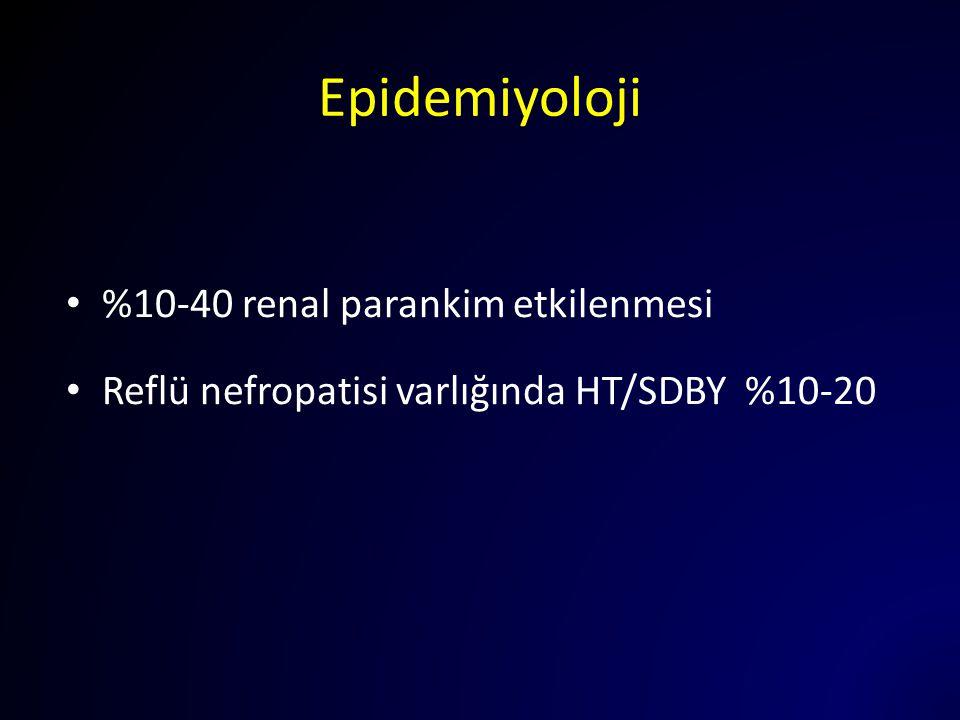Epidemiyoloji %10-40 renal parankim etkilenmesi
