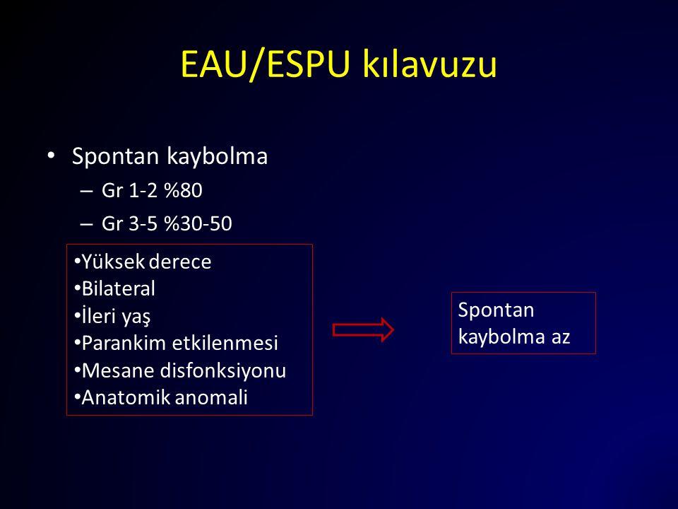 EAU/ESPU kılavuzu Spontan kaybolma Gr 1-2 %80 Gr 3-5 %30-50