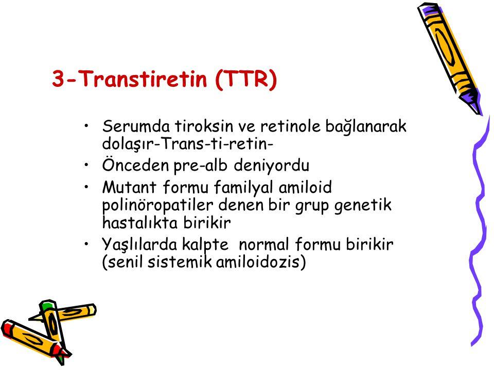 3-Transtiretin (TTR) Serumda tiroksin ve retinole bağlanarak dolaşır-Trans-ti-retin- Önceden pre-alb deniyordu.