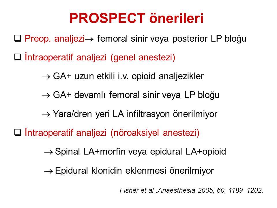 PROSPECT önerileri Preop. analjezi femoral sinir veya posterior LP bloğu. İntraoperatif analjezi (genel anestezi)
