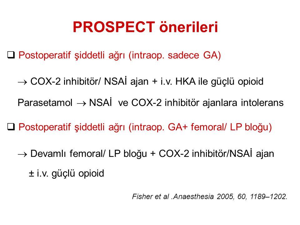PROSPECT önerileri Postoperatif şiddetli ağrı (intraop. sadece GA)